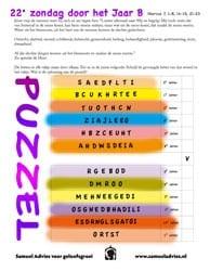 22e zondag door het jaar B - Puzzel