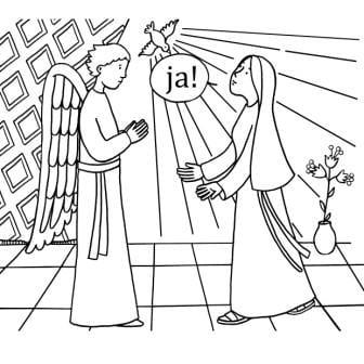Maria Boodschap kleurplaat 'totaal JA'